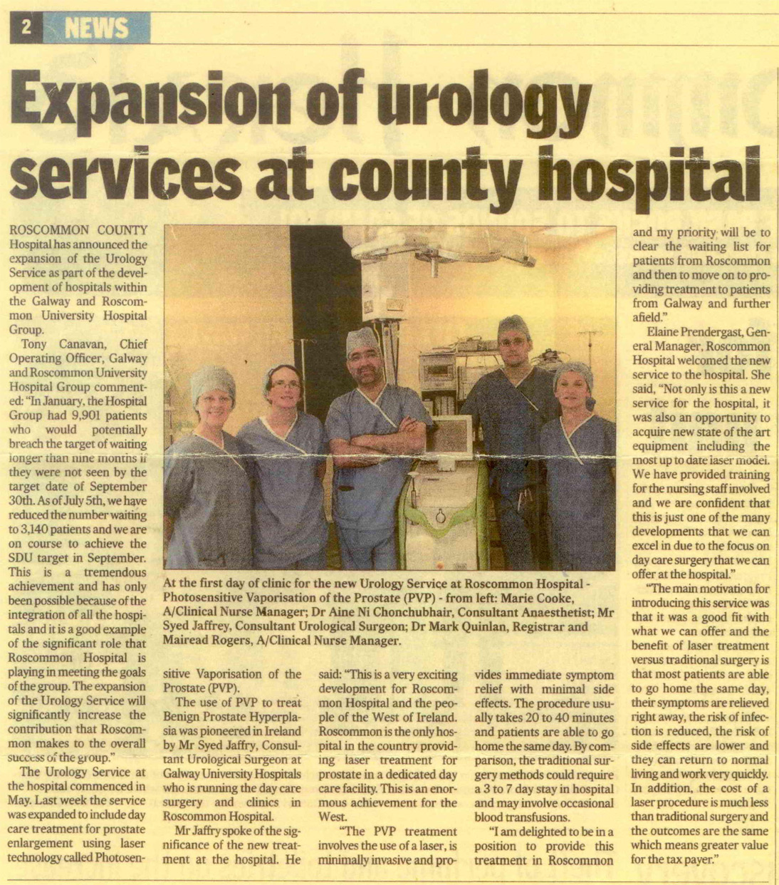 Expansion of Urology Services at County Hospital