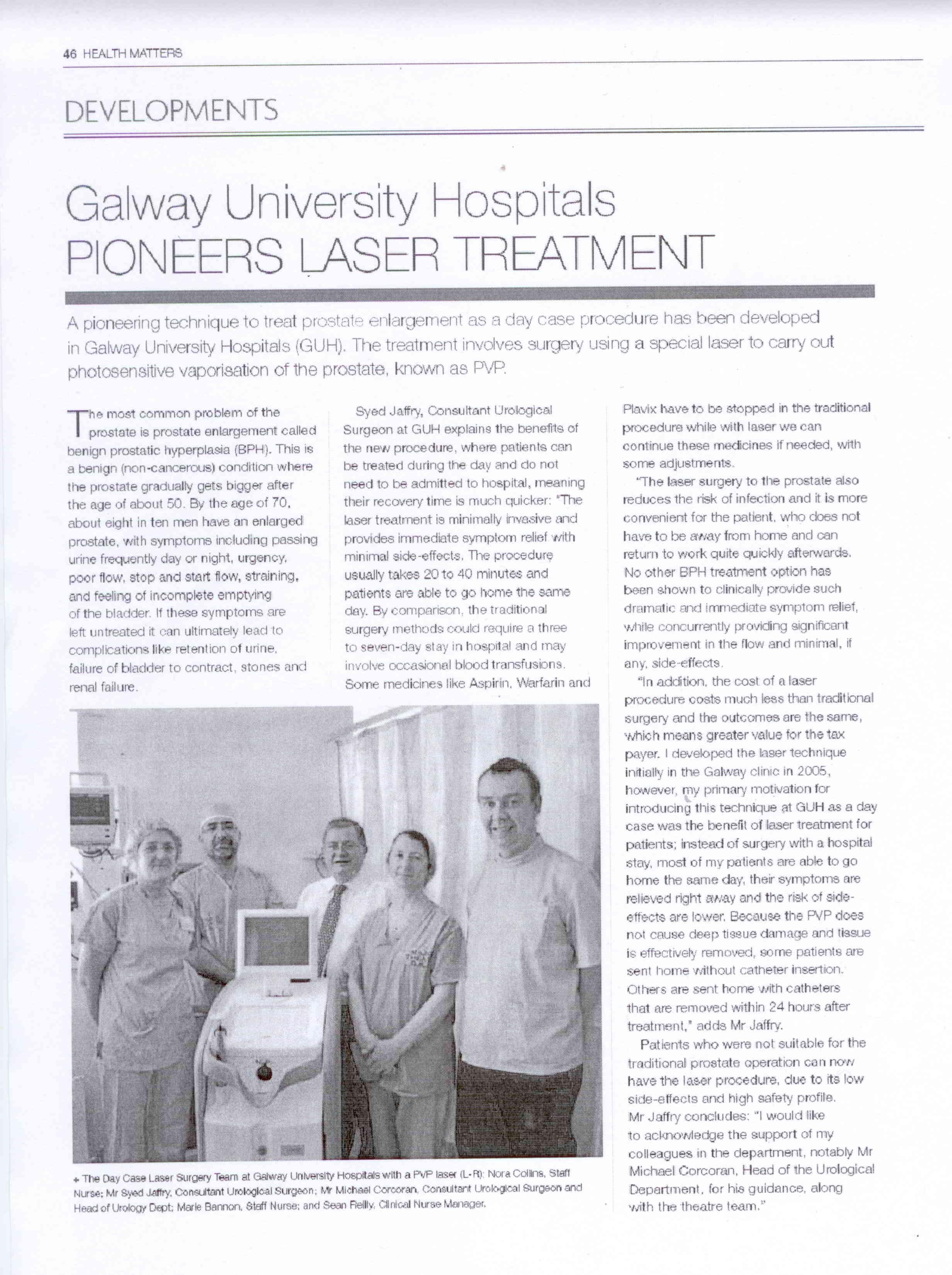 Galway University Hospitals Pioneers Laser Treatment